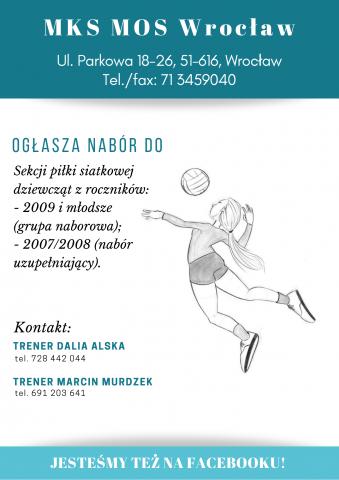 Zapraszamy wszystkich chętnych do sekcji siatkówki MKS MOS Wrocław!